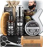 Kit Barba Cuidado Para Hombres, Set Herramientas de Aseo y Recorte Con Champú Barba, Aceite...