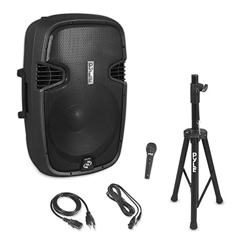 Pyle PPHP155ST Wireless Portable PA Speaker System - 1500W High Powered Bluetooth Compatible Active Outdoor Sound Speakers w/ USB SD MP3 RCA - 35mm Mount, Stand, Microphone, Power Cable, Black, 15'