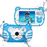 CamKing Kids Fotocamera Subacquea Digitale Impermeabile per Bambini,K6 HD 1080P 18 MP 2.7 Pollici Screen 8X Mini Cartoon Macchina Fotografica per Bambini (Blu)