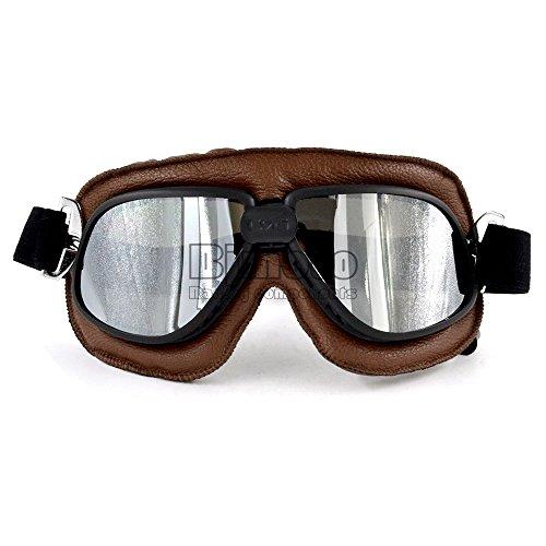 Gafas para motocicleta estilo vintage de piel en color marrón