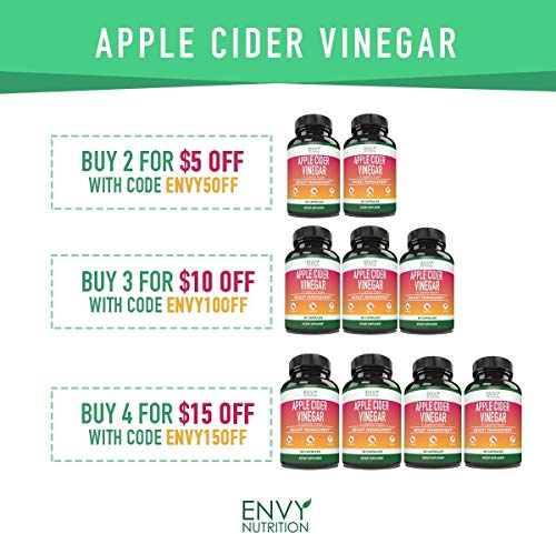 Apple Cider Vinegar Capsules - Supports Metabolism, Immunity, Gut Health, Blood Sugar Level and Heart Health - 60 Count 2