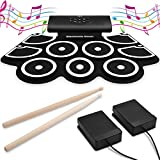 VEEtop 9 Pads Electronic Drum Set, Bluetooth Upgraded Version, Thickened Hand Roll Up Electric Drum Practice Pad, Built-in Speakers, Bluetooth, MIDI, Christmas Holiday Birthday Gift for Kids, Beginner