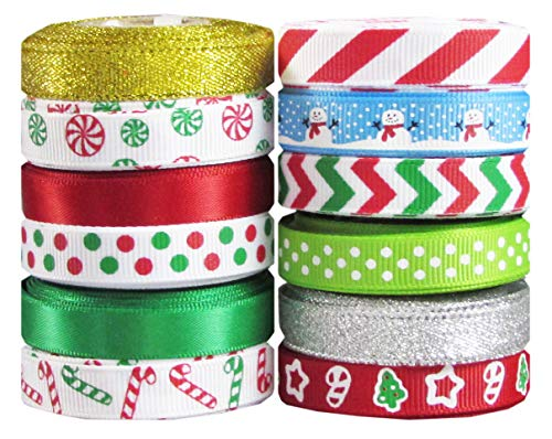 "Q-YO Holiday Christmas Grosgrain Ribbon Set for Gift Package Wrapping, Hair Bow Clip Accessory Making, Crafting, Wedding Decor. (60yd(12x5yd) 3/8"" Grosgrain Ribbon-Xmas)"