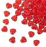 Kleenes Traumhandel Lot de 100 cœurs rouges en acrylique de 12 mm de diamètre...