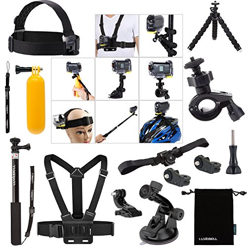 Luxebell Accessori Kit per Sony Action Camera HDR-AS15 AS20 AS30VE AS50 AS100V AS200VR HDR-AZ1 Mini FDR-X1000VR 4K (14-in-1)