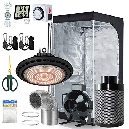 BloomGrow 600W Full Spetrum UFO LED Grow Light + 32''x32''x63'' Grow Tent + 4'' Fan Filter Duct Combo + Hangers + Hygrometer + Shears + 24-Hour Timer + Trellis Netting Indoor Grow Tent Complete Kit