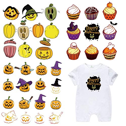 Halloween Patches for Kids Clothes-3 Sets Washable Heat Transfer Iron...