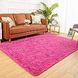YJ.GWL Soft Shaggy Area Rugs for Bedroom Fluffy Living Room Rugs Anti-Skid Nursery Girls Carpets Kids Home Decor Rugs 4 x 5.3 Feet Hot-Pink