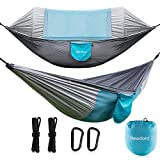 Newdora Double Camping Hammock, Camping Hammock with Mosquito Net, Portable Hammock for Camping,Double Parachute, Swing Sleeping Hammock Bed with Net and 2 x Hanging Ropes for Outdoor, Travel