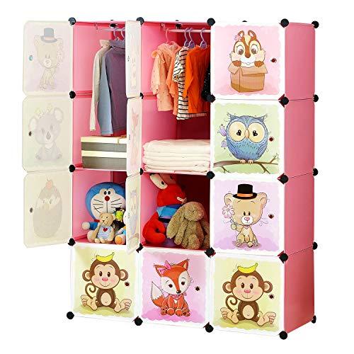 BRIAN & DANY Armadio Modulare Bambini, Portatile Guardaroba, Armadietto in Moduli Plastici, 8 Cubo e 2 Aree di Sospensione, Rosa, 110 x 47 x 147 cm