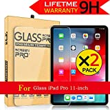 AnoKe [3-Pack] for Apple iPad Pro 11 inch Screen Protector,Anti-Scratch, HD Clear Premium Tempered Glass Screen Protector with Lifetime Replacements Warranty for iPad Pro 11'(2018 Release) - 2 Pack