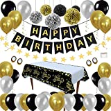 Décorations de Fête D'anniversaire Kit Noir Or - Anniversaire Paquets de...