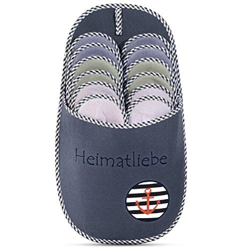 ONVAYA Zapatillas de huéspedes antideslizantes | conjunto de 6 | Zapatilla de fieltro | Heimatliebe Amor de la Patria