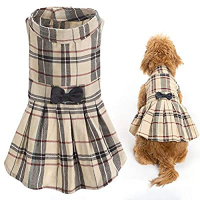 "Size S: Chest girth: 36 cm/14"", neck girth: 29 cm/11.5"",body length: 30 cm/12"". Soft and comfy fabric, 100% cotton, comfortable and safe for your pet. Classic grey plaid pattern be printed, stylish and casual style, keep your dog cute and lovely. Fou..."