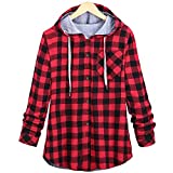 2018 Hoodie,Women's Long Sleeve Plaid Cardigan Jacket Blouse Overcoat by-NEWONESUN Red