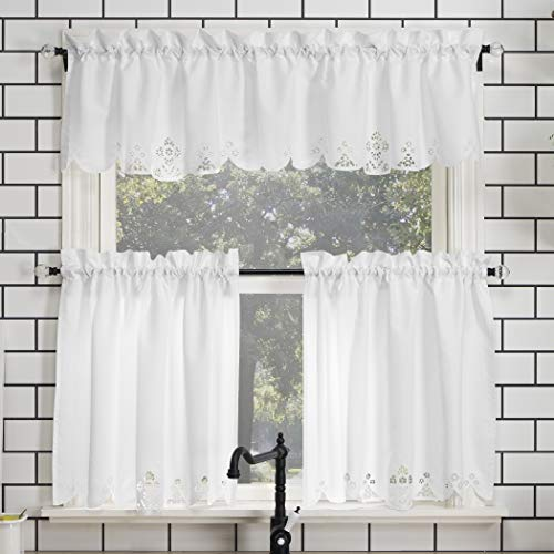 """No. 918 Mariela Floral Trim Semi-Sheer Rod Pocket Kitchen Curtain Valance and Tiers Set, 58"""" x 36"""" 3-Piece, White"""