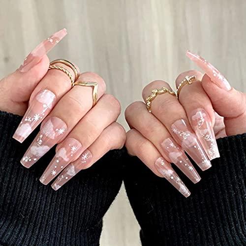 Fairyu Long Press on Nails Pink Coffin Fake Nails Cute Glossy False Nails Cloud Print Artificial Nails for Women and Girls (24PCS) (Cloud)