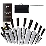 XYJ Stainless Steel Kitchen Knives Set 10 Piece Chef Knife Set with Knife Sharpening Rod Carry Case Bag & Sheath Razor Sharp Well Balance