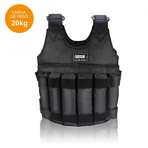 Zerone Gilet lesté réglable - Charge maximale de 20 kg - 12 poches - Pour perte de poids, course à pied, entraînement