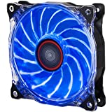 Rosewill 120mm CULLINAN Computer Case Cooling Fan with LP4 Adapter Semi-Transparent Frame & Blue LED Lights, Sleeve Bearing, Silent RFA-120-WL