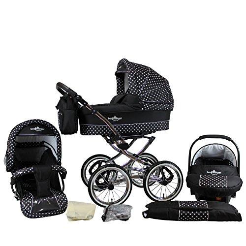 Bergsteiger Venedig Nostalgie Kinderwagen 3 in 1 Retro Kombikinderwagen Megaset 10 teilig inkl. Babyschale, Babywanne, Sportwagen und Zubehör (black & white dots)