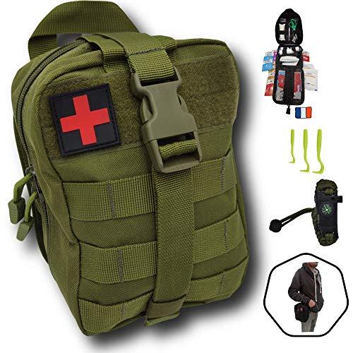 Trousse de premiers secours verte tactique Assemblé en FRANCE kit complet...