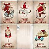 Edition Colibri 11051-55 - Juego de 15 divertidas tarjetas de Navidad (5 diseos diferentes, 14 x 10,5 cm), diseo retro de Pap Noel