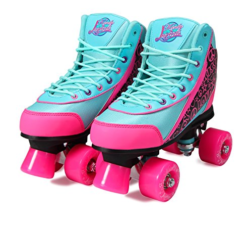 Kandy-Luscious Kid's Roller Skates - Comfortable Outdoor Children's Skates with Fun Colors & Designs | Summer Days Teal and Pink | Size 12 Junior