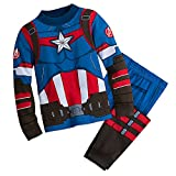 Marvel Captain America Costume PJ PALS Pajamas for Boys Size 5,Multicolor