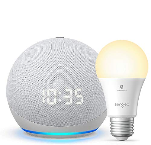 All-new-Echo-Dot-4th-Gen-with-clock-Glacier-White-bundle-with-Sengled-Bluetooth-bulb-Certified-for-Humans-product