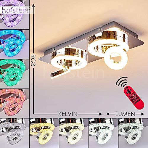 LED Deckenleuchte Asmos, dimmbare Deckenlampe aus Metall in Chrom m. Glitzereffekt, 14 Watt (insgesamt), 720 Lumen (insgesamt), Lichtfarbe 2700-5000 Kelvin, RGB Farbwechsler u. Fernbedienung