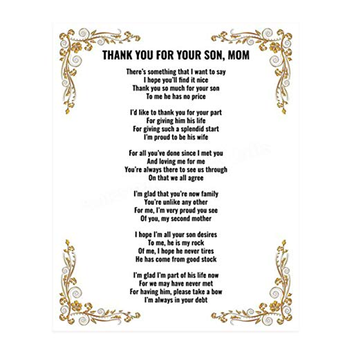 'Thank You For Your Son, Mom'- 8 x 10'-Wall Art Print-Ready...