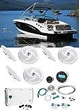 (6) Rockville RSM65W 6.5' Slim Marine Boat Speakers+6-Ch Amp+Bluetooth Receiver