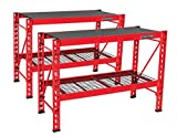 Craftsman 2-Shelf 3-Foot Tall Stackable Tool Chest Depth Storage Rack, 2-Pack, Red