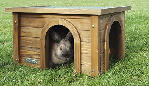 Kerbl 82852 Konijnenhuis | Gemaakt van cuuninghamia hout | Weervast dak | 2 ingangen | Optimale bescherming tegen zon en wind | Eenvoudig te monteren | Afmetingen: 45 x 32 x 27 cm