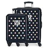 Enso Free Dots Juego de Maletas Azul 55/68 cms Rígida ABS Cierre combinación 104L 4 Ruedas Dobles Equipaje de Mano