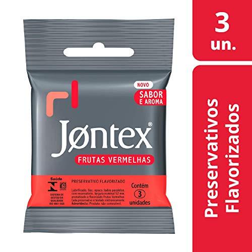 Preservativo Camisinha Jontex Sabor Frutas Vermelhas - 3 Unidades, Jontex, 3un