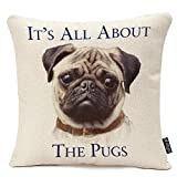 oFloral Letter It's All About The Pugs Pattern 18x18 Inch Cotton Linen Standard Size Throw Cushion Cover Pillow Case for Home Sofa Decorative Durable Square Pillowcase Pillow Covers Cases