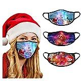 Lomelomme 3 Stücke LED Licht Mundschutz Halstuch mit Motiv Weihnachten Atmungsaktiv Wiederverwendbar Mund und Nasen Maske und Nasenschutz Bandanas Damen Herren (A)