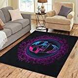 Semtomn Area Rug 3' X 5' Blue Black Screaming Skull in Mirror Purple Bloody Mary Home Decor Collection Floor Rugs Carpet for Living Room Bedroom Dining Room