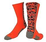 TCK Sports Digital Camo Crew Socks (Neon Orange, Small)