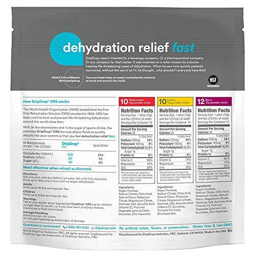 DripDrop ORS Electrolyte Hydration Powder Sticks Variety Pack (12 Lemon/10 Berry/10 Watermelon) 10g Sticks, 32 Count 6