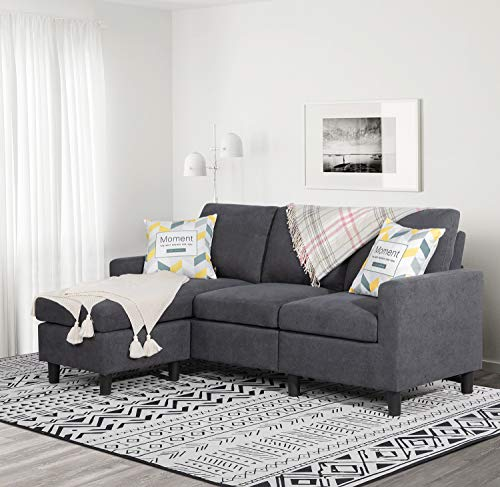 Shintenchi Convertible Sectional Sofa Couch, Modern Linen Fabric L-Shaped Couch 3-Seat Sofa Sectional with Reversible Chaise for Small Living Room, Apartment and Small Space, (Dark Grey)