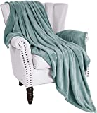 Exclusivo Mezcla Large Flannel Fleece Velvet Plush Soft Throw Blanket – 50' x 70' ( Celadon )