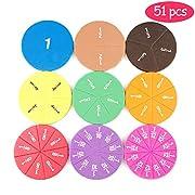 51PCS Doppelseitige Magnet Bruchkreise Montessori Mathe Spielzeug Regenbogenfarben Tisch Lernspielzeug Geschenk für Kinder