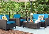 Homall 5 Pieces Outdoor Patio Furniture Sets Rattan Chair Wicker Conversation Sofa Set, Outdoor Indoor Backyard Porch Garden Poolside Balcony Use Furniture (Blue)