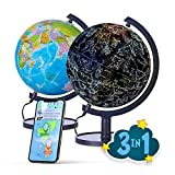 SJ Smart Globe with Interactive APP & LED Illuminated Constellations at Night, DIY, Easy to Assemble, Educational Content for Kids, USB Cord Included, US-Patented STEM Toy, 10' World Globe