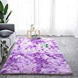 Softlife Fluffy Bedroom Area Rugs 4' x 6' Mordern Collection Rug Indoor Shaggy Carpet for Girls Kids Room Living Room Dorm Nursery Home Holiday Decor, Purple & White
