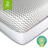 Ziggy Baby Crib Sheets, Toddler Bedding Fitted Jersey Cotton (2 Pack) Grey Polka Dot, Chevron