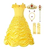ReliBeauty Little Girls Layered Princess Costume Dress up with Accessories, Yellow, 7-8/150